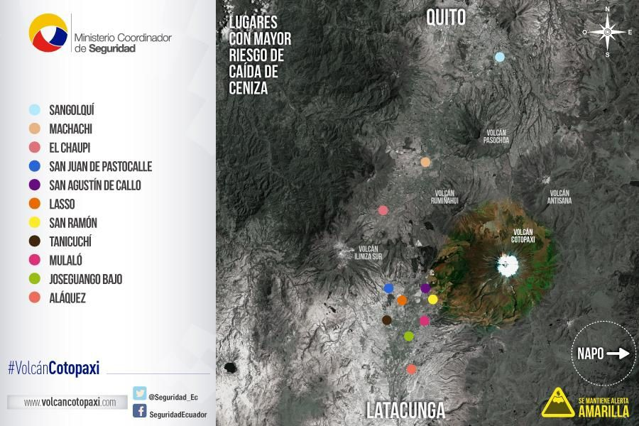 Places to major risks of ash falls around the Cotopaxi - Doc. Ministerio de Seguridad Ecuador