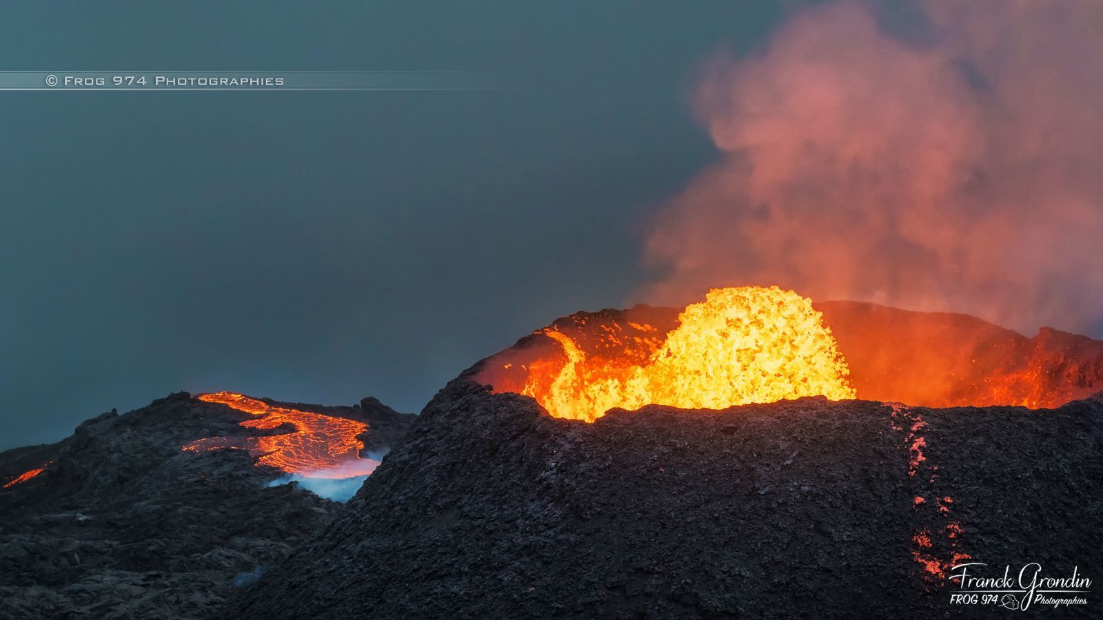Piton de la Fournaise on 08/10/2015 - tub of lava lake - photo Franck Grondin / Frog 974