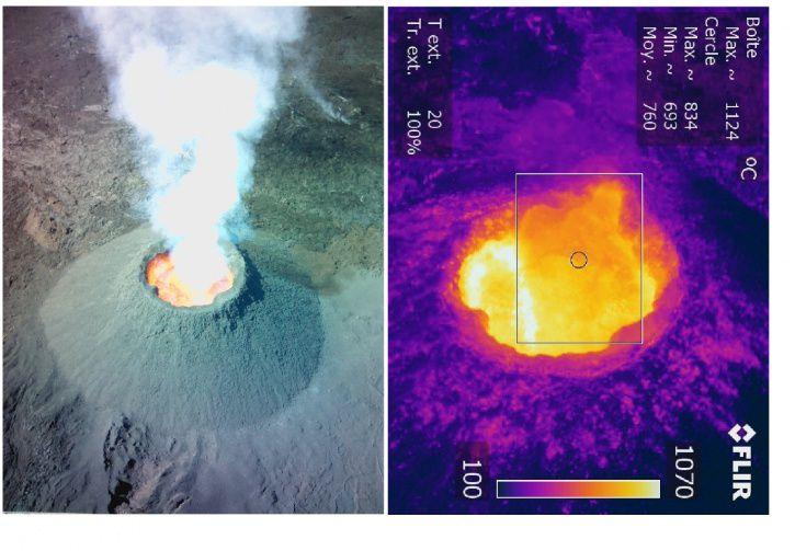 Piton de La Fournaise -  Couple synchrone Optique - Infrarouge réalisé le 9 octobre 2015. - Doc.OVPF / IPGP