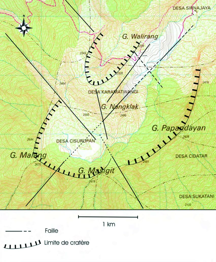 Map of Papandayan, with its summits and its main structures (faults) - according to A.Mazot / ref. in sources