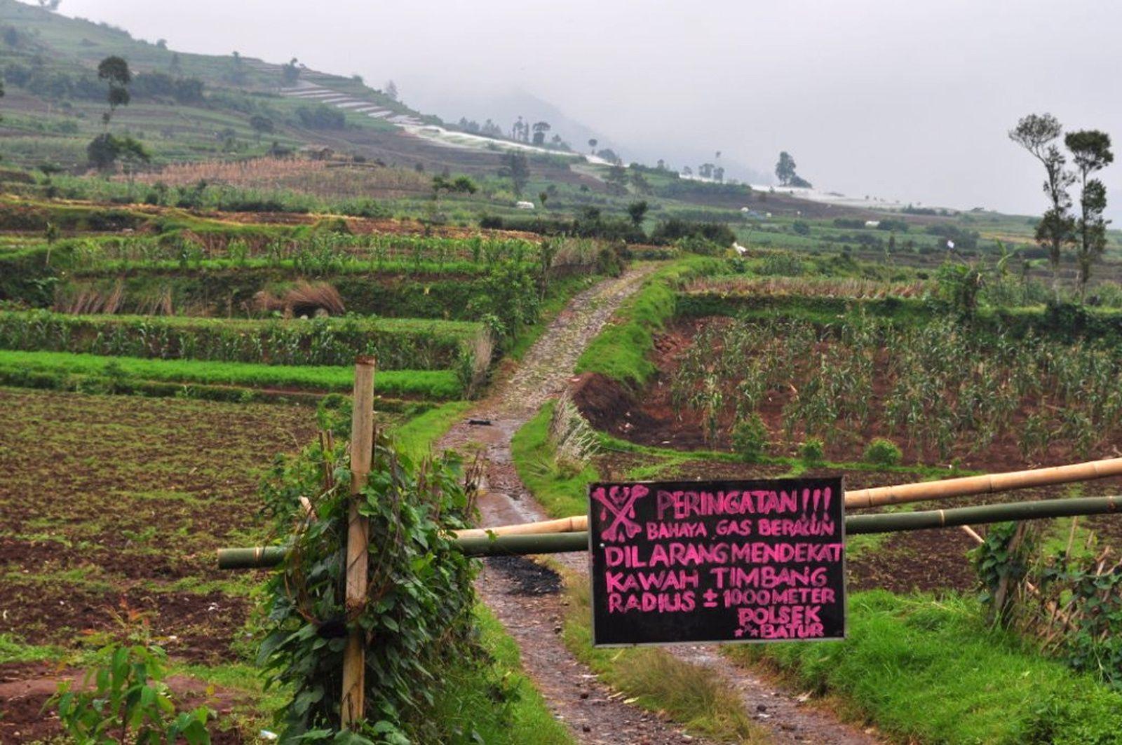 Plateau de Dieng - interdiction d'accès au cratère Timbang en raison d'émanations de gaz - photo Andi (Adi Susanto Rosadi) guide Volcanodiscovery- 29.05.2011