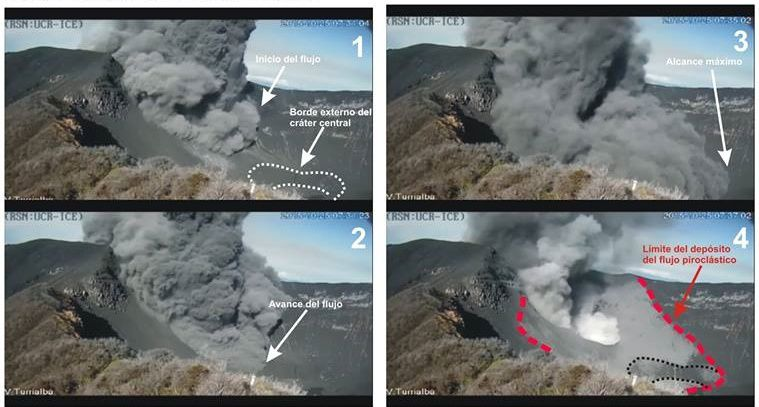Turrialba - 10.25.2015 - extension and area covered by pyroclastic flows deposits - Doc. Video RSN / RCU-Ice