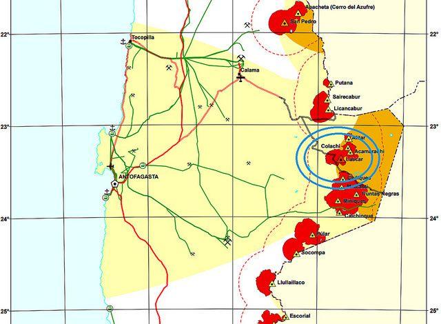 Situation du Lascar parmi les volcans du nord-Chili - carte Sernageomin
