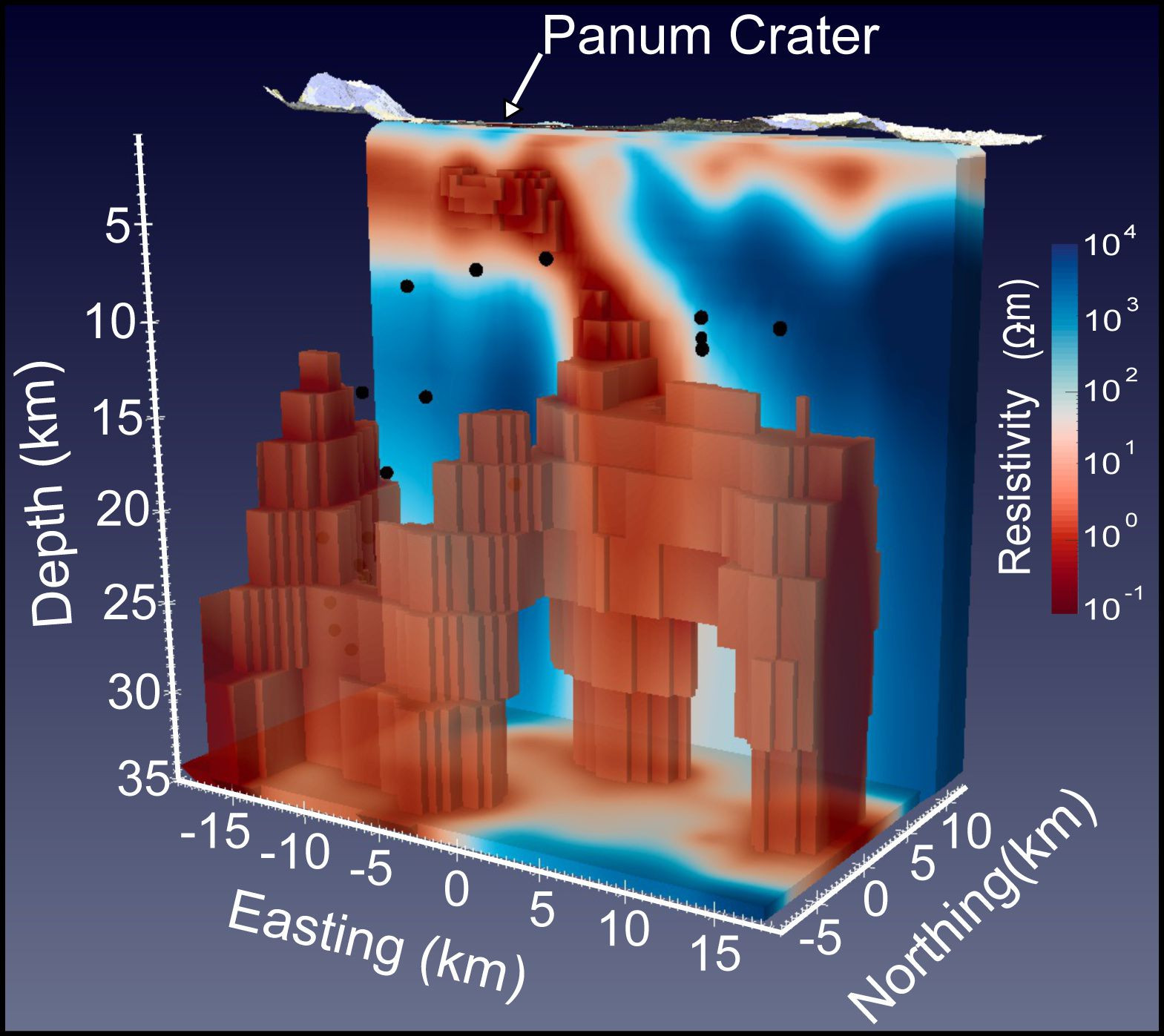 3D model showing resistivity anomalies under the Mono craters (in order to NO) - Doc. USGS