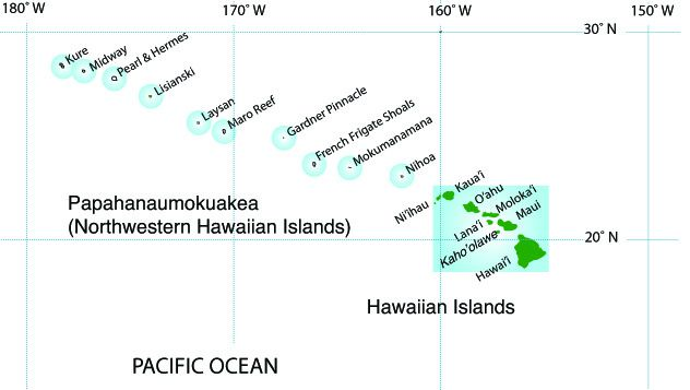 Papananaumokuakea Nat.Monument - location map northwest of the Hawaiian Islands - map NWHI