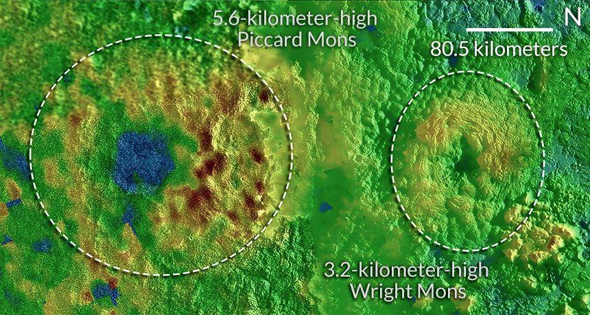 Les deux cryovolcans potentiels de Pluton, Wright Mons et Picard Mons - doc. NASA / SWRI / JHUAPL