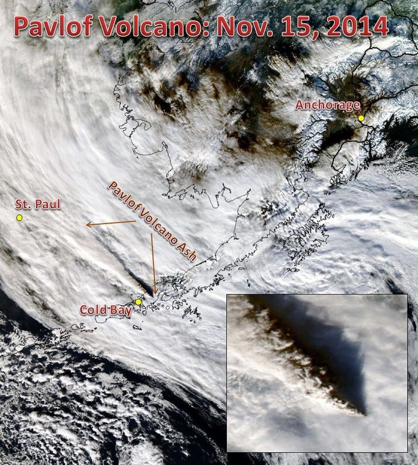 Pavlof plume on 11/15/2014 - Image MODIS to 14h / Alaska Climate Info