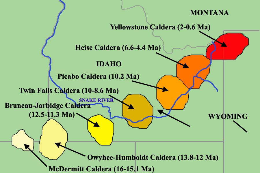 Location of the Yellowstone hot spot in the last 16 Ma - Different calderas formed dot the course of the Snake river - the Bruneau-Jarbidge eruptive center / caldera is colored yellow canary