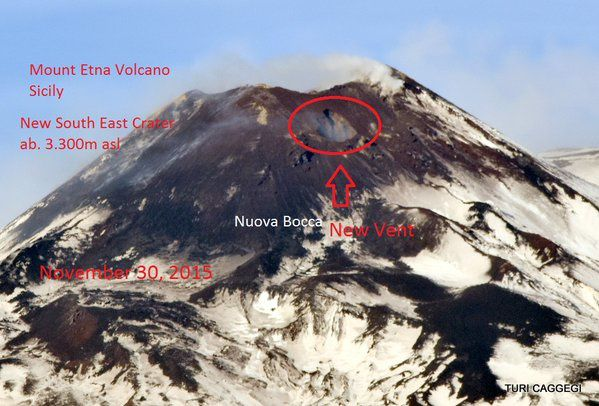 Etna NSEC - Location of the new vent on the eastern flank of the cone - doc. Turi Caggegi / iEtna