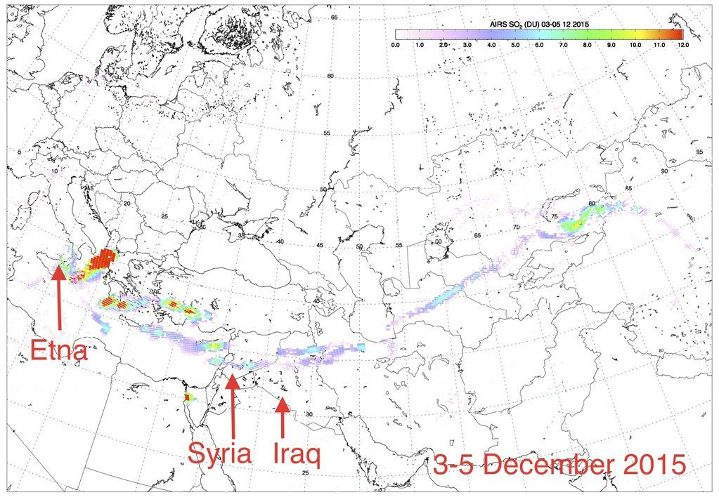 Sulfur dioxide plume above the Mediterranean, Syria and Iraq, between 3 and 5 December, 2015 - Doc. Fred Prata via twitter