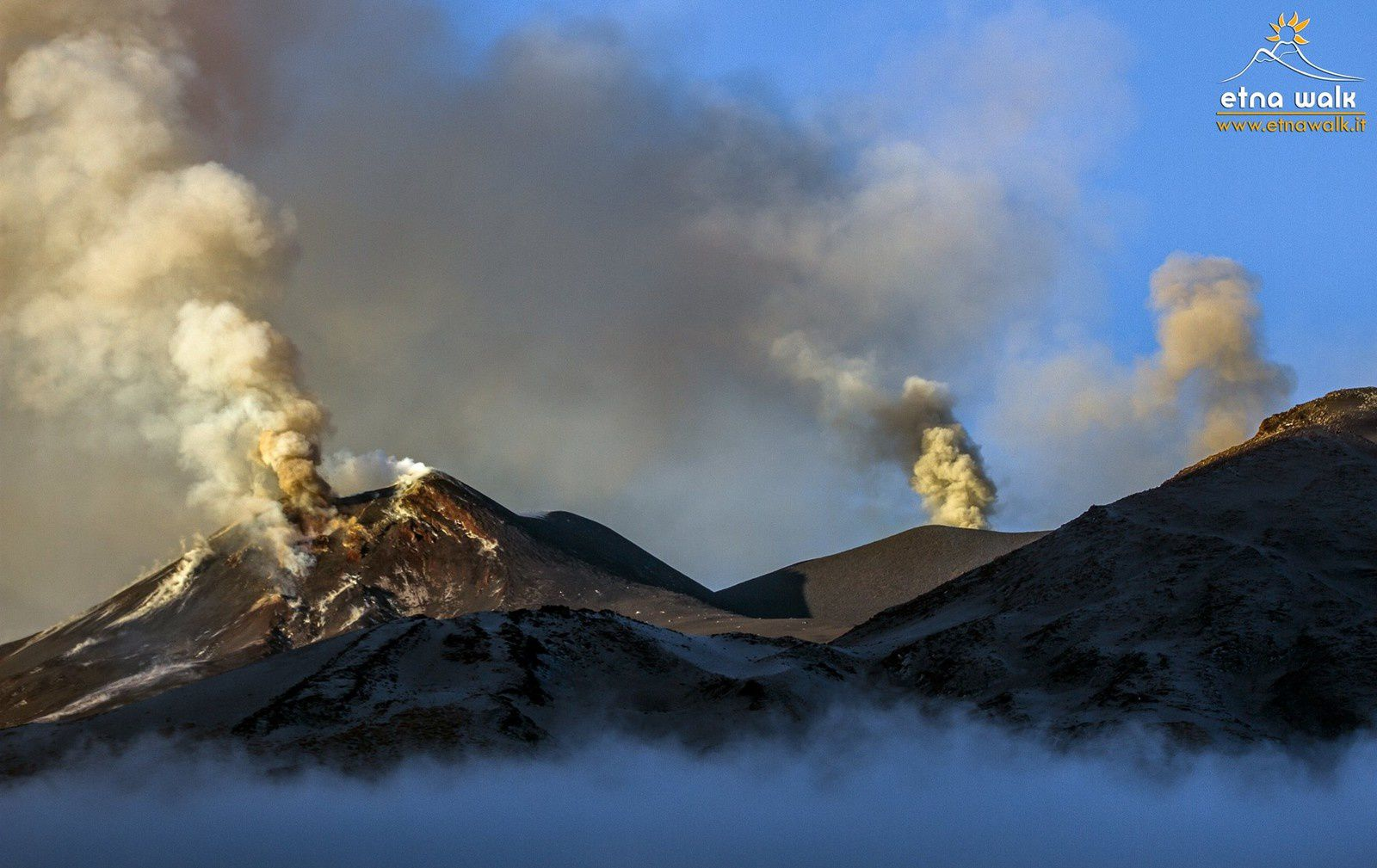 Etna - from left to right, the SE crater, that of Voragine and NE crater - photo Giuseppe Distefano / EtnaWalk