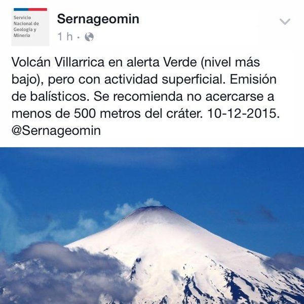 Villarica - SERNAGEOMIN publication of 02/10/2015 / Twitter