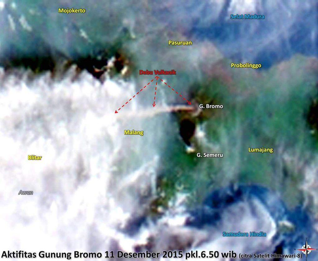 Bromo - dispersion du panache de cendres vers l'ouest et Malang - doc. BNPB / satellite Himawari 8
