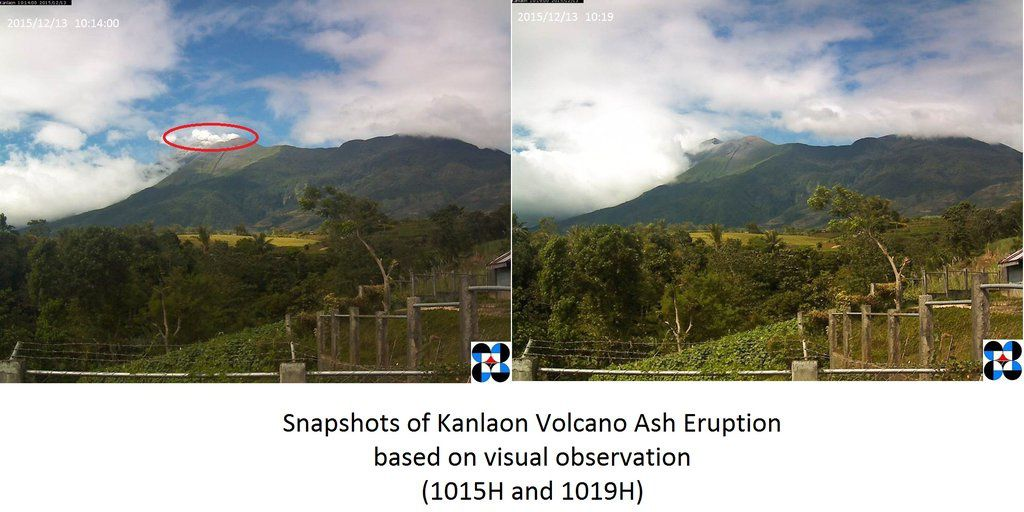 Kanlaon - 13.12.2015 à 10h14 et 10h19 loc. - photo Phivolcs