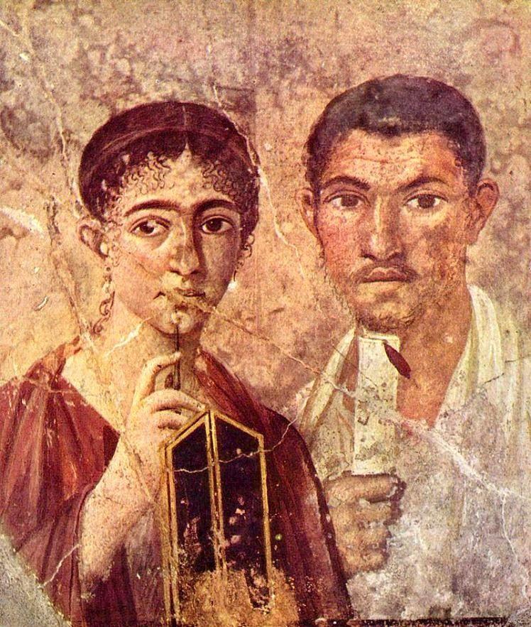 Pompéi - Maison de Paquius Proculus -  portrait de Paquius Proculus et de sa femme dorénavant conservé dans les collections du Musée archéologique de Naples.