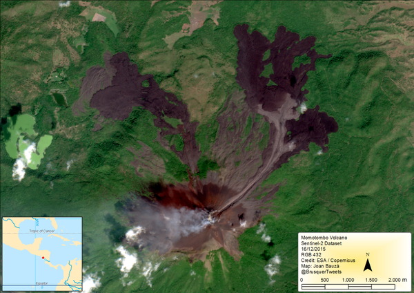 The lava of Momotombo after the first phase on 12/16/2015 Active - photo Sentinel-2 satellite via Copernicus EU
