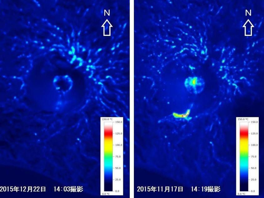 Nishinoshima -  thermal images of 17.011.2015 to the right and left, of 12/22/2015 - lower temperatures and loss of lava flow - Doc. JCG.