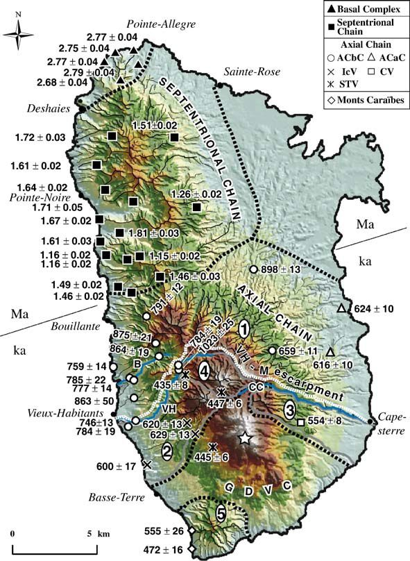 Volcanism of Basse-Terre / doc. LGMT - geochrono.free
