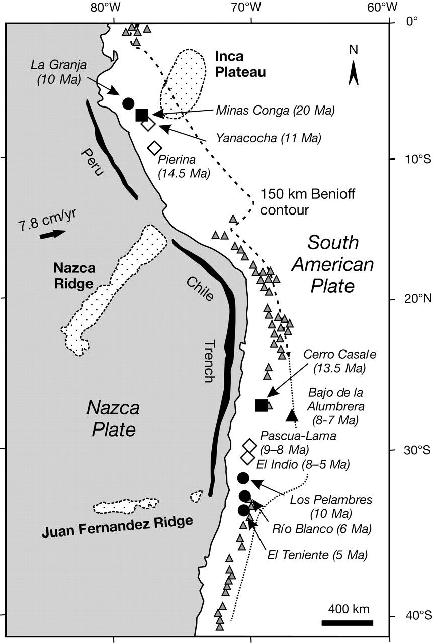 Location of the Juan Fernandez ridge, south of the Nazca plate - Doc. Andean geology / Scielo.cl