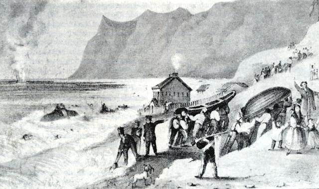 Robinson Crusoe - the eruption in 1835 - Doc. Sutcliff - Oscar Gonzalez-Ferran / Univ.of Chile / GVP