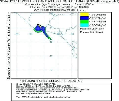 Fuego - Maps of scattering of ashes on 01/04/2016 - doc NOAA