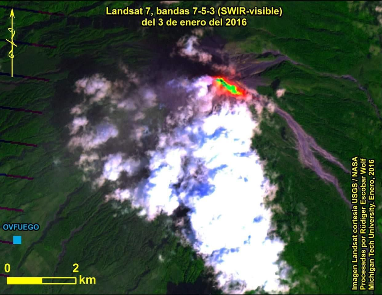Fuego - image Landsat 7 bandes 7-5-3 (SWIR-Visible) du 03.01.2016