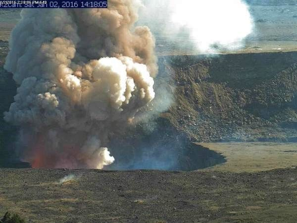 Kilauea - collapse in Overlook vent 01.02.2016 / 2:17 p.m. - Doc. HVO / USGS