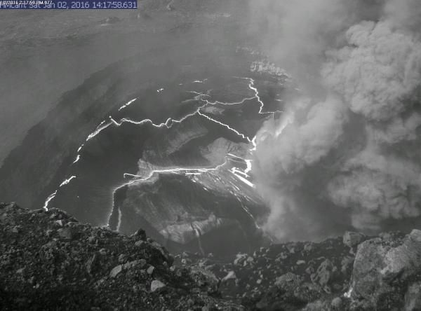 Kilauea - collapse in Overlook vent 01.02.2016 / 2:17 p.m. - HVO webcam picture