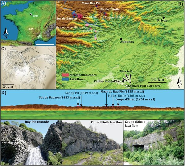 Localisation de la Grotte Chauvet-Pont d'Arc dans le Champ volcanique du Bas-Vivarais  -- (A) Digital elevation model of France (Courtesy NASA/JPL-Caltech) showing the MIS 2–3 active volcanoes and the Chauvet-Pont d'Arc cave&#x3B; C.P: Chaîne de Puys&#x3B; B.V: Bas-Vivarais. (B) Digital elevation model of the Bas-Vivarais and Ardèche (Courtesy NASA/JPL-Caltech). The volcanic centers investigated are highlighted in bold italic fonts. (C) Detail of the spray-shape sign engraving from the Megaloceros panel. (D) View from the plateau above the Chauvet-Pont d'Arc cave showing several strombolian cones located 35 km Northwest (Courtesy NASA/JPL-Caltech). doi:10.1371/journal.pone.0146621.g001