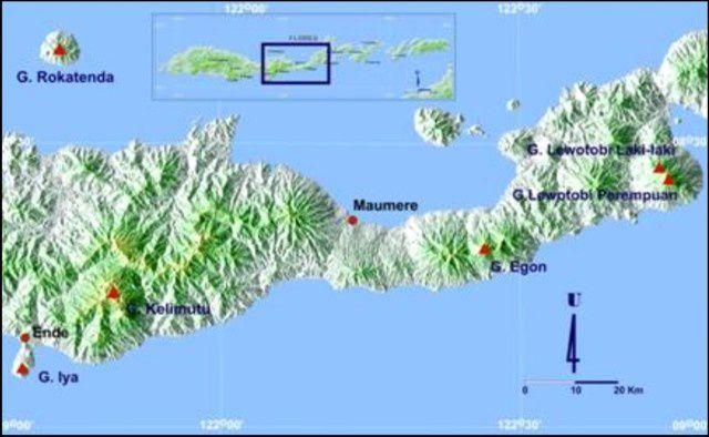 Localisation de l'egon au centre de Florès  - carte CVGHM