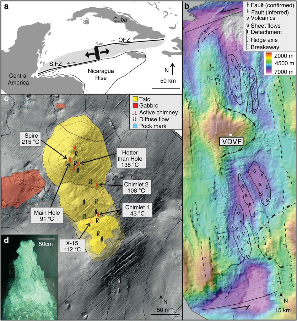 VDVF in the Caribbean  - (a) map of the Caribbean showing the location of the Mid-Cayman Rise and the black rectangle represents the area of b&#x3B; the lightly shaded area is the area occupied of the Cayman Trough&#x3B; OFZ, Oriente Fracture Zone&#x3B; SIFZ, Swan Island Fracture Zone. (b) Bathymetry and interpretative geology of the Mid-Cayman Rise showing regional tectonic structures. (c) Bathymetry of the active VDVF showing the location of hydrothermal activity across the vent field. Contours are at 20-m intervals. (d) Photomosaic of The Spire at the top of the main VDVF cone obtained from high-definition video. - Doc. Talc-Dominated seafloor deposits reveal a new class of hydrothermal system - Matthew Hodgkinson RS, et al