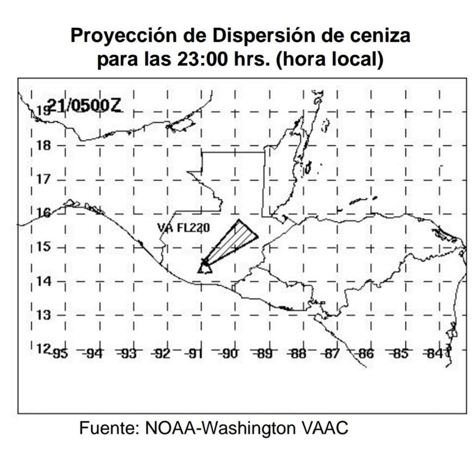 Fuego - carte prévisionnelle de dispersion des cendres de l'éruption du 20.01.2016 à 23 h loc. - doc. NOAA - VAAC Washington