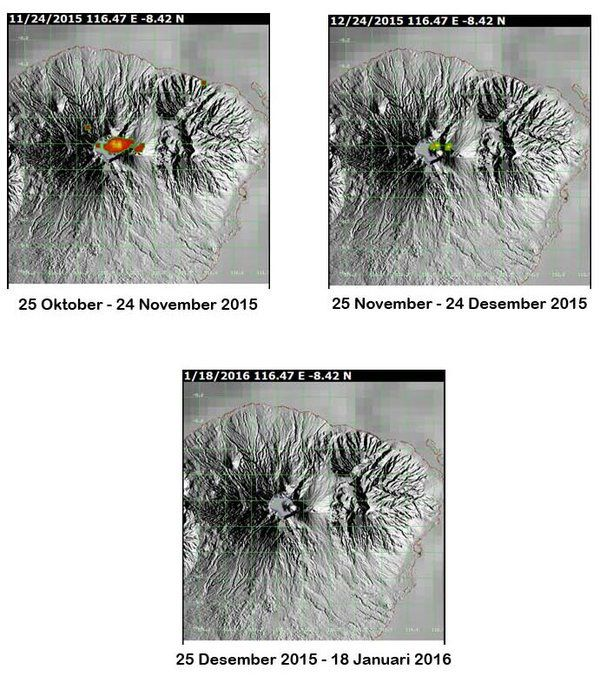 Hotspots of Rinjani taken by MODIS between 10/25/2015 and 01/18/2016