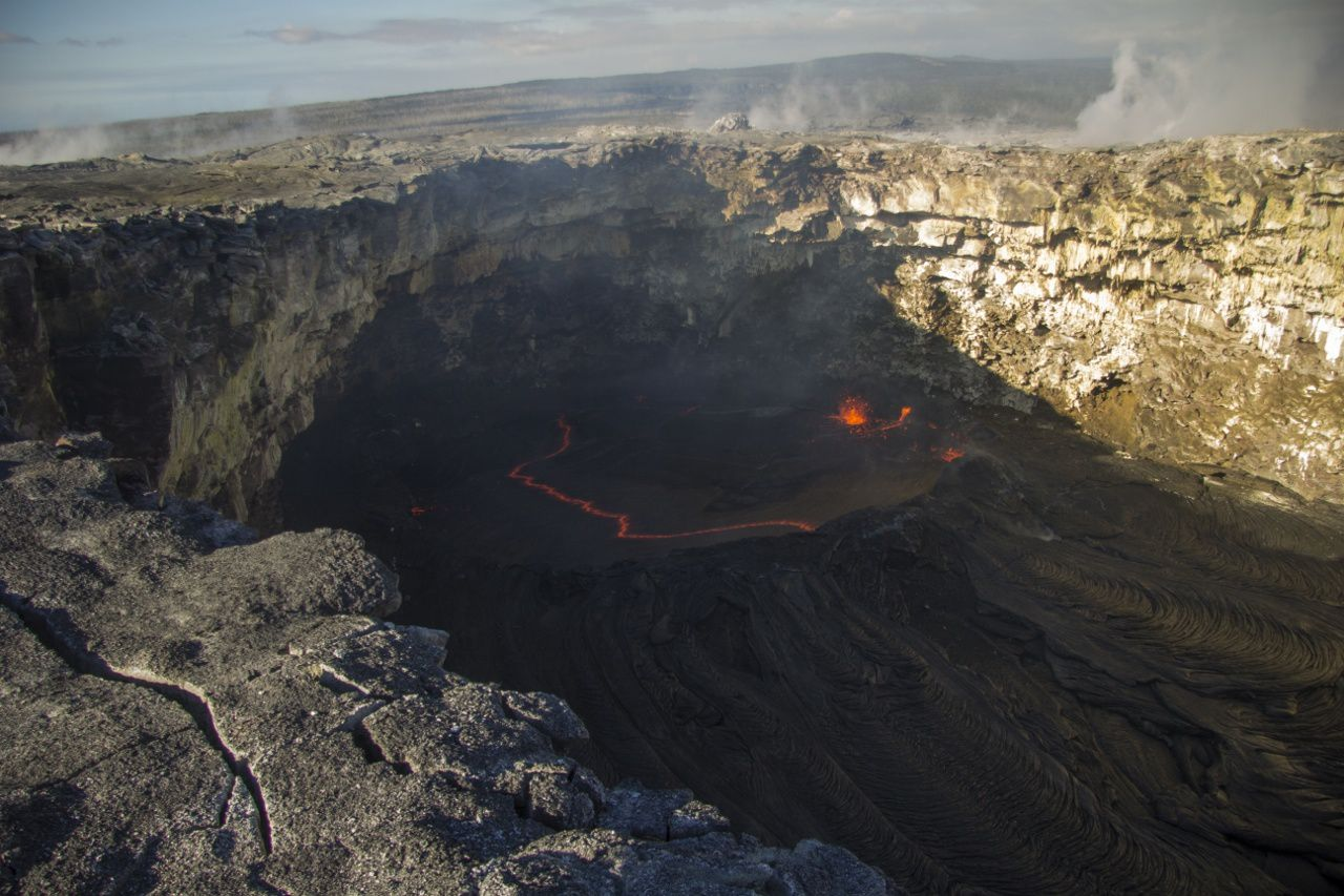 Pu'u O'o crater: the small pit crater located west side - Photo HVO / USGS 01/19/2016