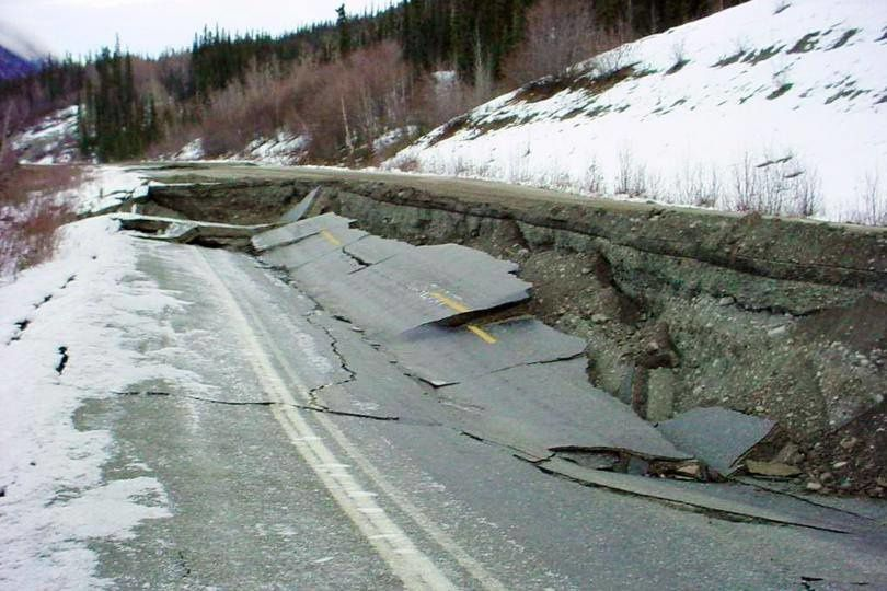 01/24/2016 Earthquake in Alaska - damage to infrastructure - CNN Photo