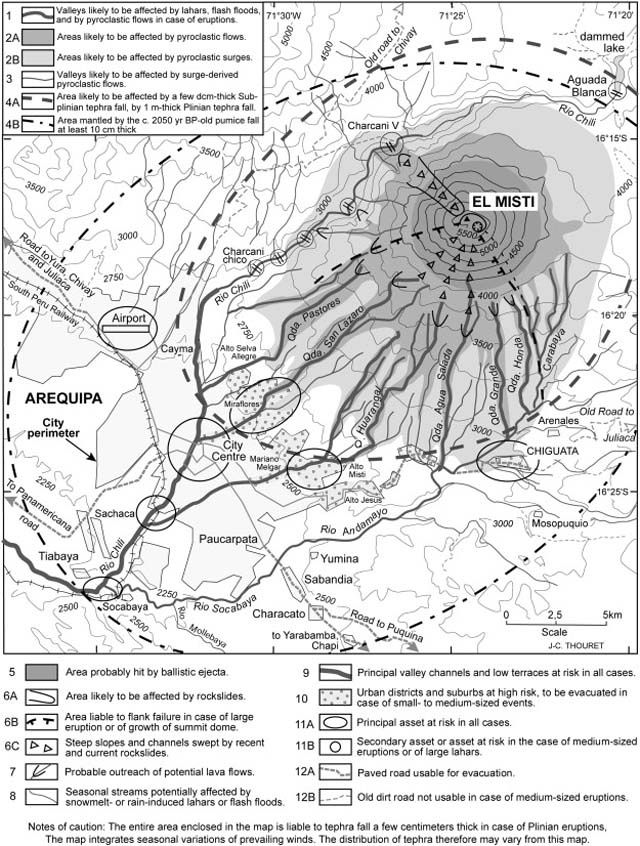 Hazard-zone map for El Misti based on the VEI 4 Plinian eruption that took place about 2030 years ago. Note that the entire city of Arequipa is vulnerable to pyroclastic surges, and areas closest to the volcano would be at high risk even for small- and medium-sized events. Courtesy of Cobeñasa and others (2012).