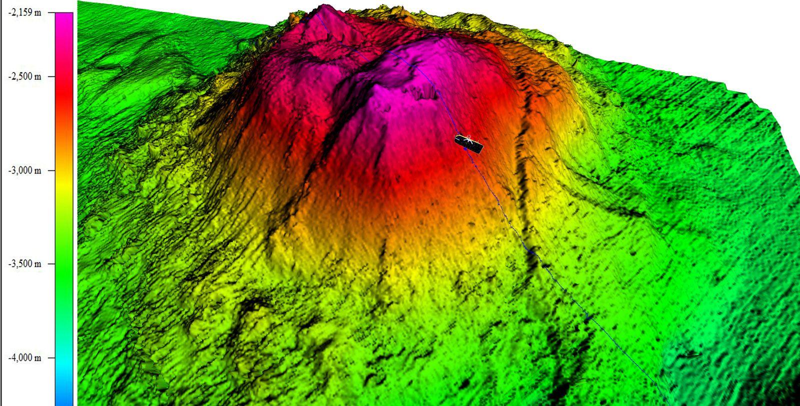 Vue 3D du volcan sous-marin Intrepid , avec adjonction de la position du drone - doc.ATSB