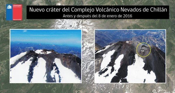 Nevados de Chillan complex - the emission of ashes 01/29/2016 at the new crater and the crater Arrau - Doc. SERNAGEOMIN