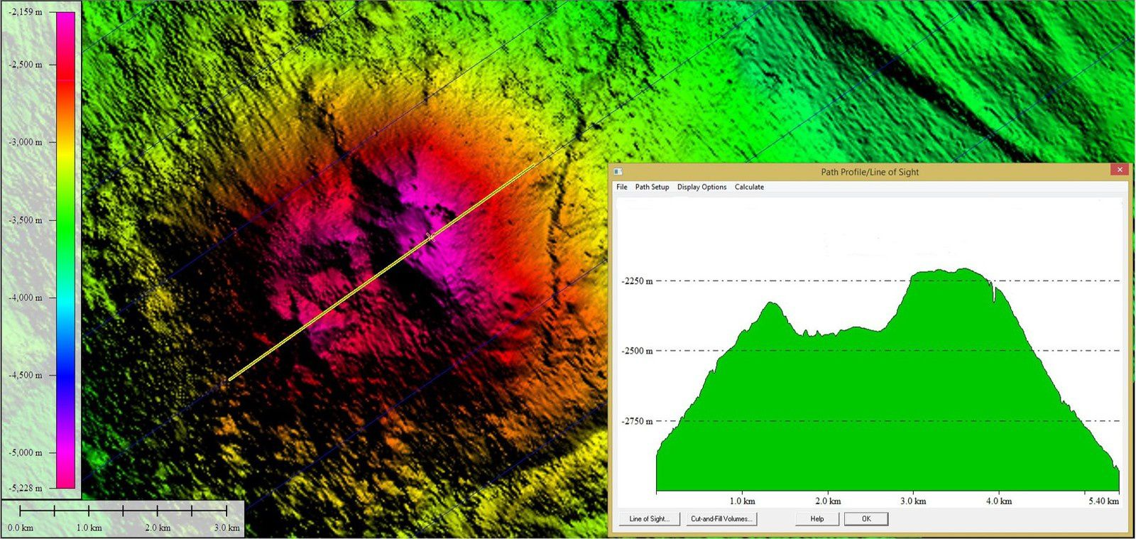 Discovery of Intrepid volcano by the probe connected to Fugro Discovery - Probe move  from right to left following the yellow line - in the box, the profile set of the volcano. - Doc. ATBS