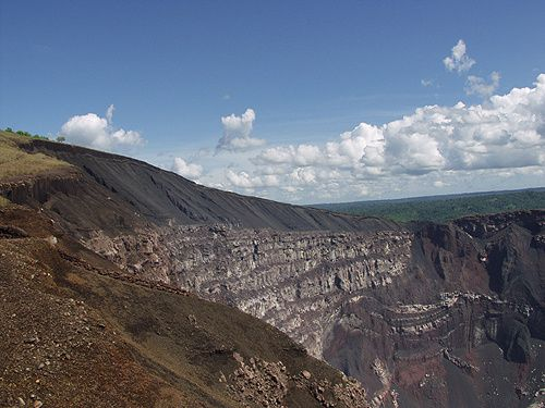 Crater of Masaya Volcano - view from the observation platform.
