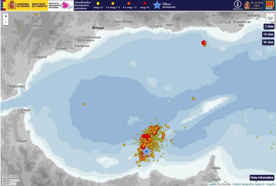 Sismicité / épicentres des séismes depuis le 25 janvier 2016 en Mer d'Alborán- IGN