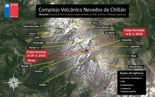 Nevados de Chillan complex - position of the active craters - Doc. SERNAGEOMIN 04/05/2016