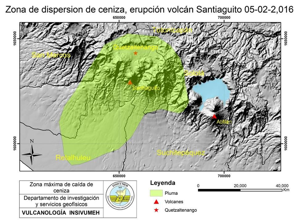 Area affected by ash of the Santiaguito - Doc. INSIVUMEH