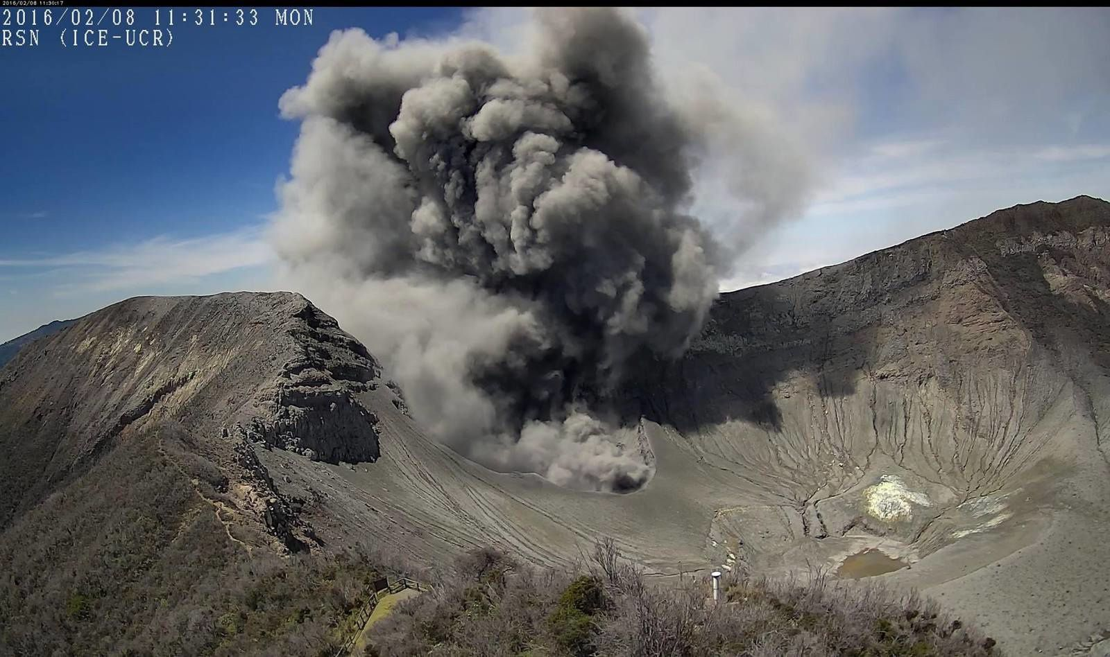 Turrialba - émanation de cendres le 08.02.2016 à 11h31 loc. - photo RSN