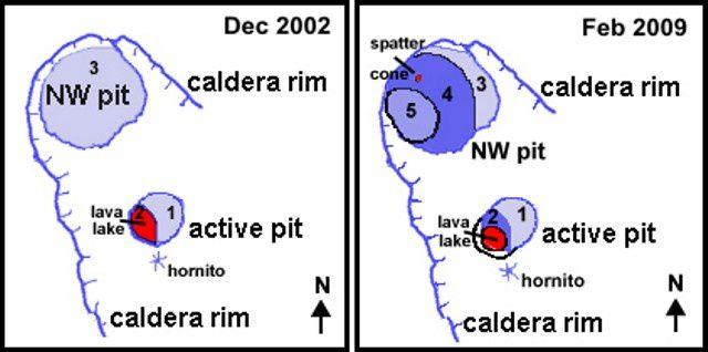 Schémas comparatifs de la morphologie des pit crater entre les deux visites de l'équipe de C.Weber / décembre 2002 et février 2009