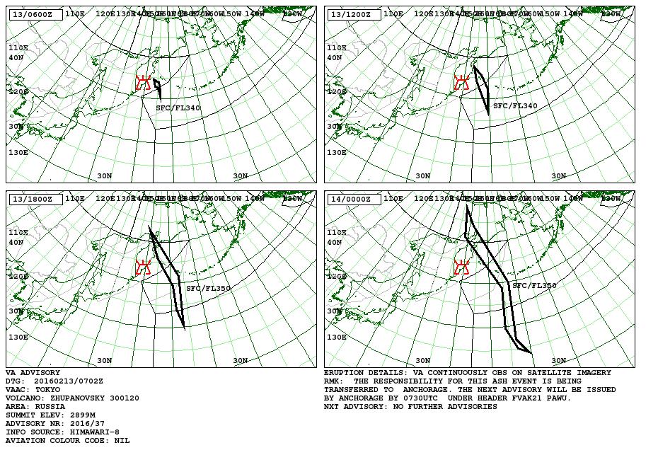 Carte prévisionnelle du déplacement du nuage de cendres du Zhupanovsky pou les 13-14.02.2016 - doc. VAAC Tokyo