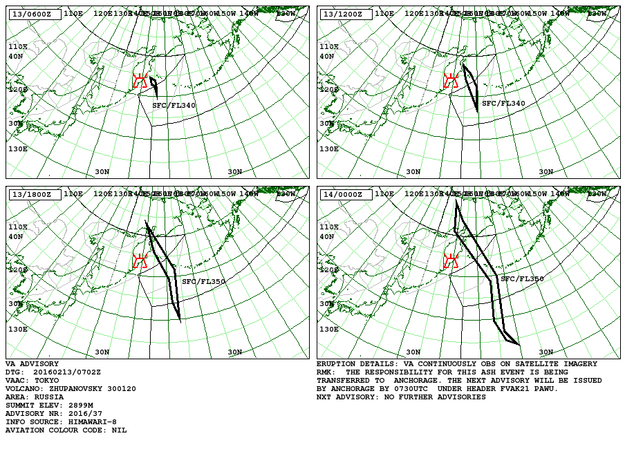 Advisory maps of the movement of ash cloud from Zhupanovsky  - 13-14.02.2016 - Doc. VAAC Tokyo