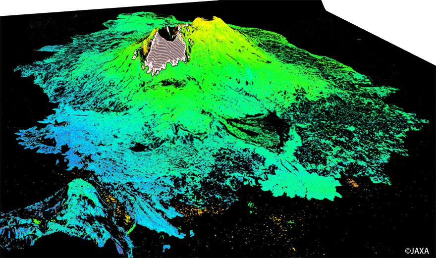 Digital model of Sakurajima satellite ALOS (interferometry between 30.11.2015 and 02.08.2016) - Doc. JAXA / JMA