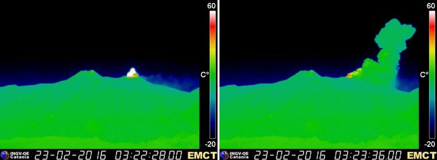 Etna - 02.23.2016 / 3:23 3h22- - webcam EMCT - Thermal webcam Monte Cagliato / INGV Catania