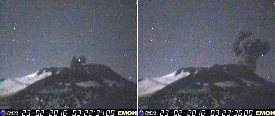 Etna - 02.23.2016 / 3:22 - 3:23- - note on the left image: lightning in the plume - webcam EMOH Monte Cagliato / INGV Catania